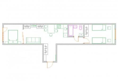 Квартира-распашонка - план