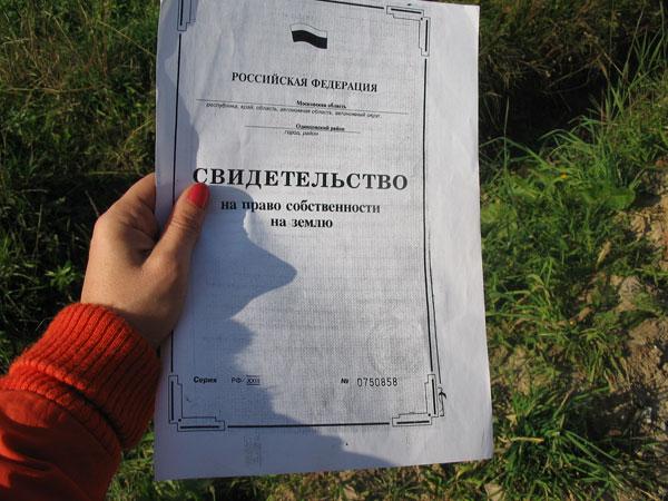 Свидетельство на право собственности на земельный участок