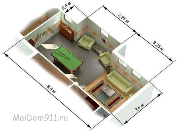 рассчитать площадь неправильного помещения