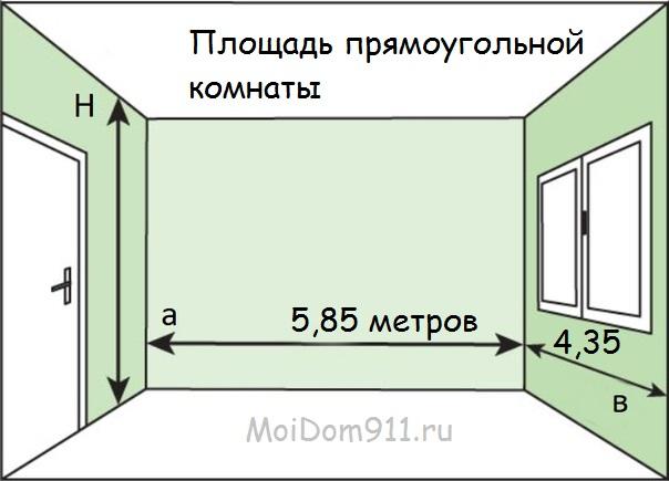 рассчитать площадь прямоугольного помещения